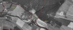 Letecký snímek, spodní části obce Muzlov, roku 1962.