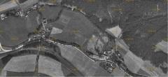 Letecký snímek Muzlo, spodní část obce, roku 1938.