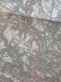 Zakreslení železniční tratě v oblasti Muzova 1892