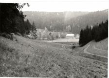Pohled na Vilu a Weiglův mlýn skrze Ančino údolí